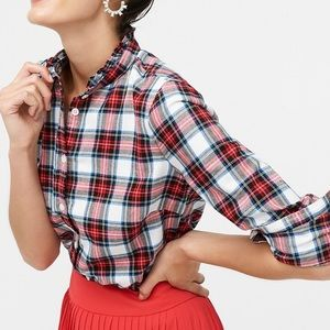 J. Crew Flannel Plaid Shirt Ruffle Colar Women's L